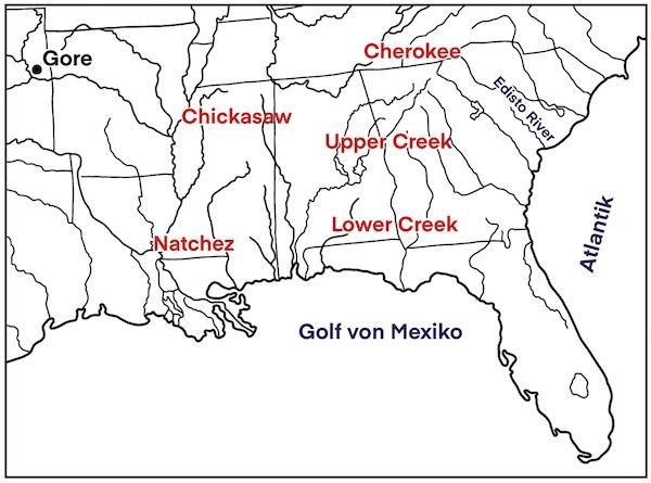 Landkarte zur Odyssee der Natchez