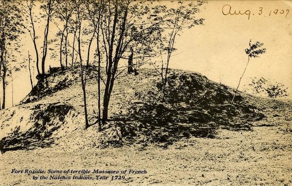 Postkarte von 1907, aufgenommen an jener Stelle, an der Fort Rosalie stand, 1729 Schauplatz der Schlacht zwischen den Natchez und französischen Siedlern