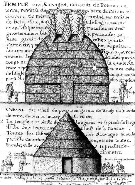 """Der """"Große Tempel"""" and das Haus des """"Sonnenhäuptlings"""", Alexandre de Batz, ca. 1730."""
