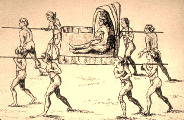 """""""Die Große Sonne"""", Oberhäuptling der Natchez; Zeichnung von Antoine-Simon Le Page du Pratz, 1758"""